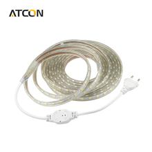 AC 220V Silicone Tube Waterproof 5050 SMD LED Strip light Tape 1M/2M/3M/4M/5M/6M/7M/8M/9M/10M/15M/20M 60LEDs/M + EU Power Plug(China (Mainland))