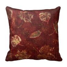 Active Deep Maroon Gold Fall Leaves Stencil Subtle Tartan Pillow Case (Size: 20″ by 20″) Free Shipping