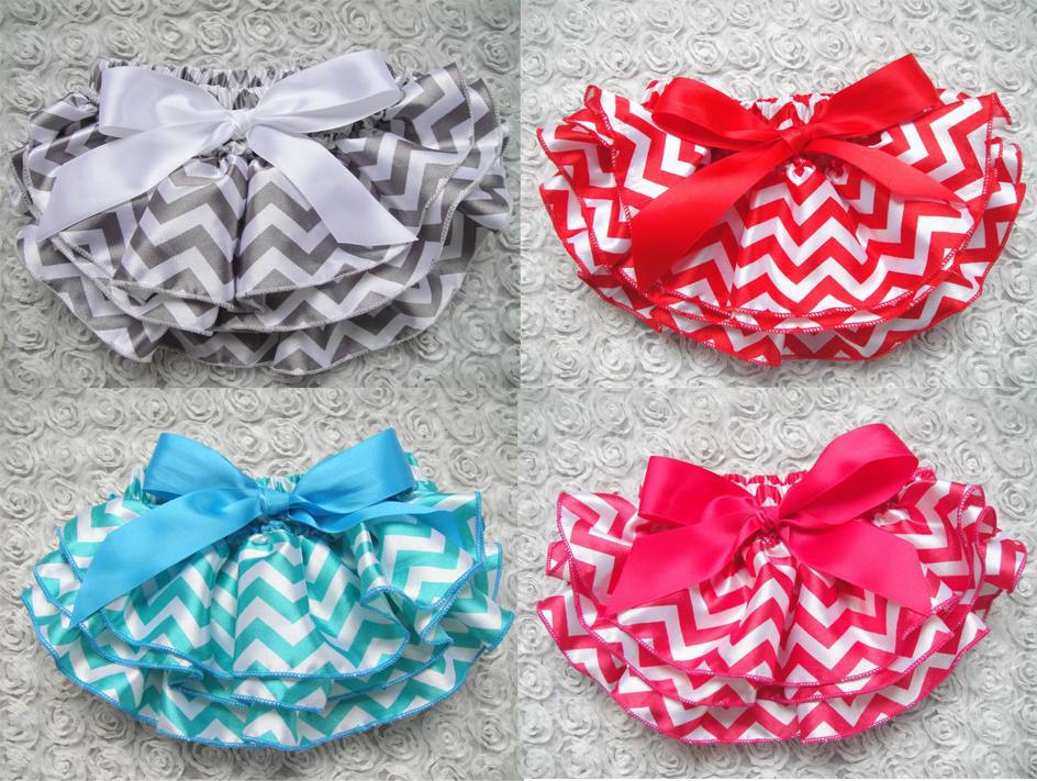 retail baby girls satin bloomers chevron newborn infant toddler diaper cover bow Ruffle Baby Bloomers(China (Mainland))