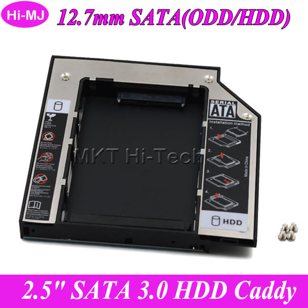 "Universal Aluminum SATA 3.0 2nd HDD Caddy 12.7mm for 2.5"" SSD Case Hard Disk Drive Enclosure for Notebook CD DVD ROM Optical Bay(China (Mainland))"
