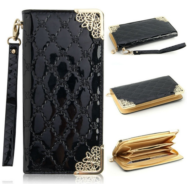 2015 fashion lady women Wallet purse long Zipper Purse pu leather Luxury Clutch Wallets coin purses black red bag for women(China (Mainland))