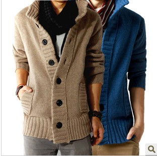 Free shopping new 2014 autumn outdoors polo collar slim fit mens sweaterss big button design cashmere warm casual cardigan /KS5(China (Mainland))