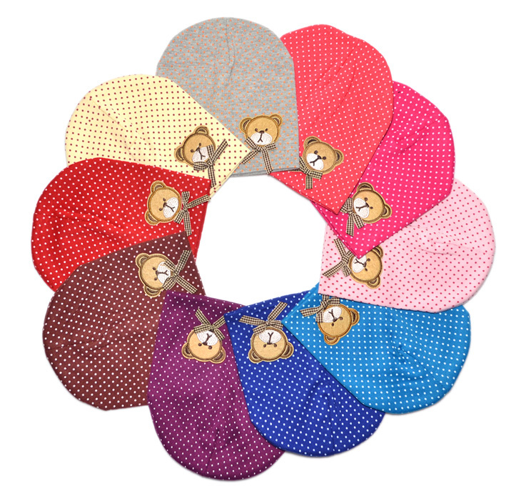 Hot sales baby hat 0-18M carton animal bear cotton embroidery multicolor lovely soft newborn hat infant beanie high quality(China (Mainland))
