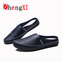 Fashion Hollow Out Men Casual Shoes Breathable Sandal PU Leather Doug Sandalias Flat Round Toe Slipper Free Shipping ZMS0012 D5