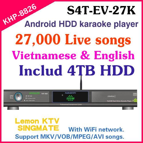 8826(#3) 27850 Vietnamese&English songs include 4TB HDD Hard drive Lemon KTV karaoke player with HDMI 1080P(China (Mainland))