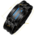 Luxury LED Electronic Blue Binary led Displayer Luminous Sports Watches Men Women Stainless Steel Wristwatches D49