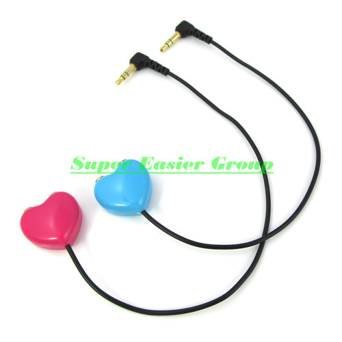 20cm Blue & Red Heart Shape 3.5mm Male to 2x Female ports Y Splitter Audio Cable Jack Adapter For Headphone MP3 Player 2pcs/lot(China (Mainland))