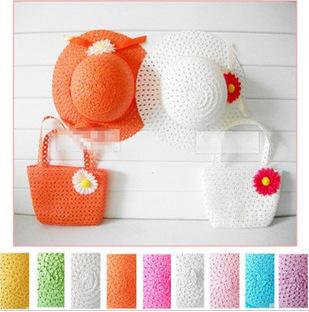 Available sun caps bags UP Stylish Baby Kid Girl Princess Flower Straw Beach Sun Hat Cap+Straw Handbag Set Boutique Accessory(China (Mainland))