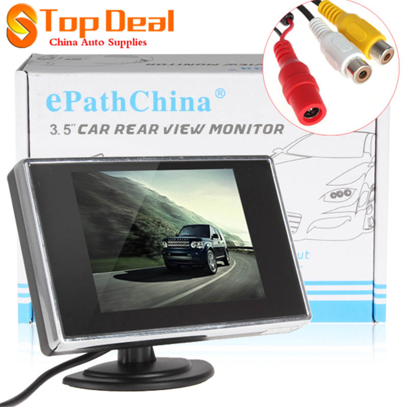 Sales Portable 2W 3.5 Inch TFT LCD Car Rear View Monitor 2 Channel Input Supports Auto Backup Reverse Camera(China (Mainland))