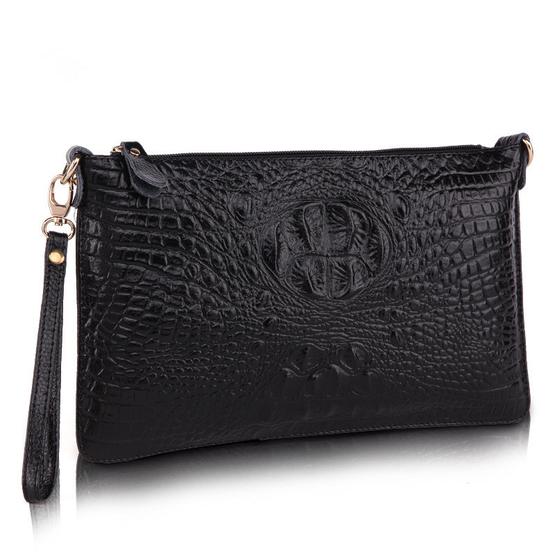 Fashion Women Bag Genuine Leather Day Clutches Alligator Shoulder Messenger Bags Small Evening Bags Wristlets Blosas Feminina(China (Mainland))
