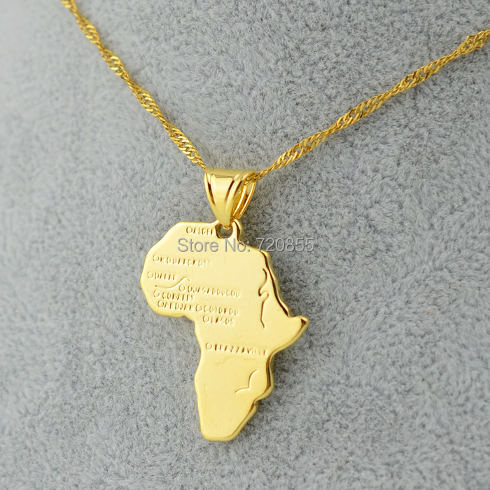 3 Size/Africa map pendant necklace women girl 18K gold plated fillde jewelry men,45cm/60cm african gold chain gift wholesale 22(China (Mainland))