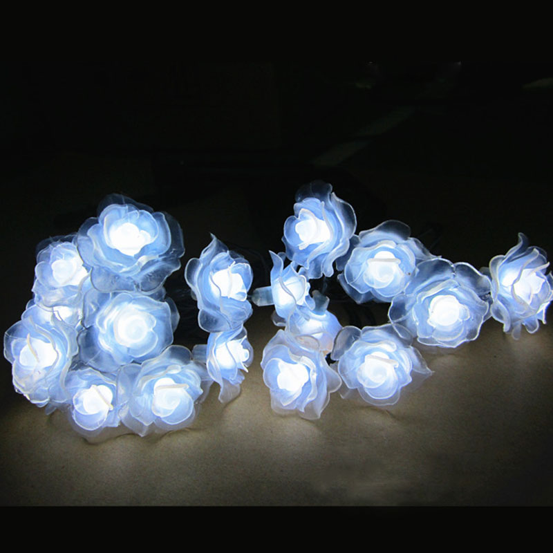 20LEDs Solar Rose String Lights Holiday Lighting Christmas Fairy Lights Waterproof Garden Lamp ...