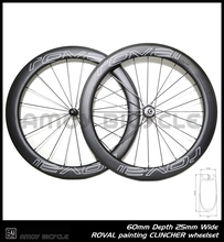 Free shipping 25mm width S logo R0VAL painting 60mm Clincher wheels 700C full carbon road bike wheelset(China (Mainland))