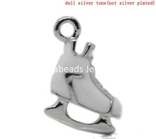 Charm Pendants Roller Skate Silver Tone Enamel White 17x13mm,10PCs (B22584)8seasons(China (Mainland))