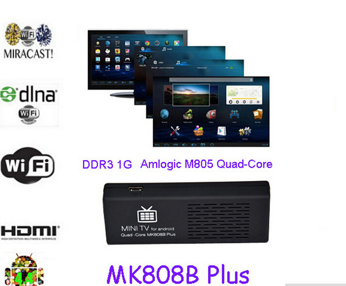 HD MK808 Android 4.4 Player HDMI TV Stick TV Dongle Amlogic M805 Quad-Core 1GB/8GB Mini PC Bluetooth XBMC Miracast/DLNA(China (Mainland))