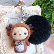 Fofo Chaveiro Bola de Pêlo de Coelho Bonito Dos Desenhos Animados bonecas BB Gato Totoro Porco Pele De Coelho Pompom Saco Chaveiro Carro Das Mulheres anel chave(China)