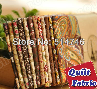 """Delicate 12 Assorted Charm Precut DIY Cotton Quilt Fabric Scrap Quaters """"Brown"""" 9.4""""x9.4"""" Promotion + Free Shipping(China (Mainland))"""