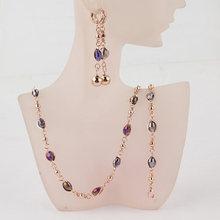 Mode Kristall Afrikanische Perlen Schmuck Sets Gold Farbe Hochzeit Brautschmuck Sets Frauen Halskette Ohrringe Armbänder Schmuck(China)