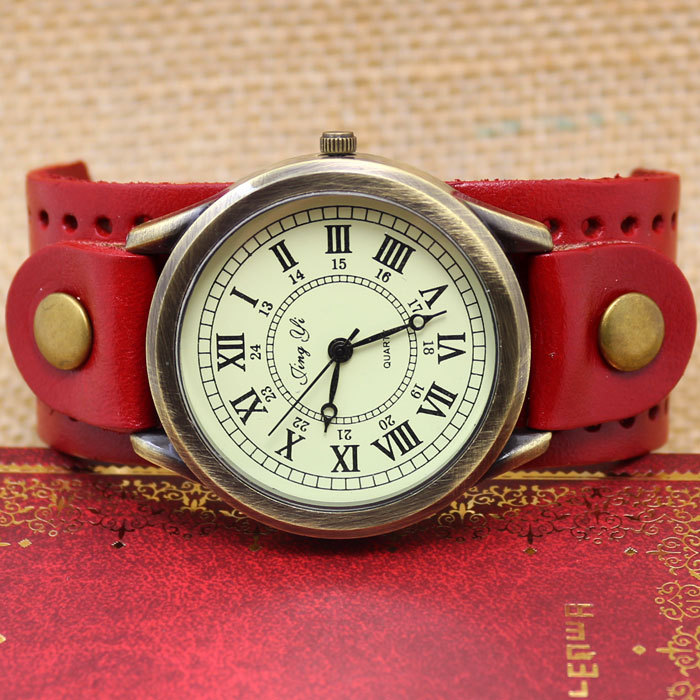 Dark Brown Roma Number Dial Vintage Leather Bracelet Quartz Wrist Watch Men Boy