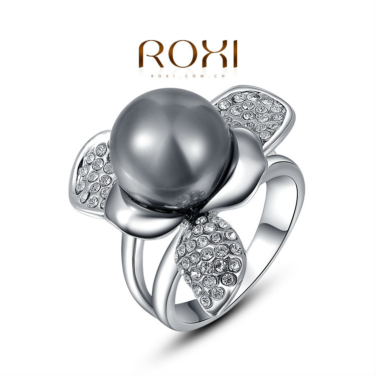 ROXI Christmas Gift Classic Genuine Austrian Crystals Sample Sales Platinum Plated Pearl Petals Ring Jewelry Party OFF(China (Mainland))