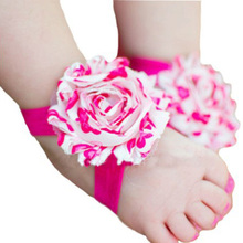 1 Pair Baby Infant Barefoot Toddler Foot Flower Band Newborn Girl Socks Foot Wear First Walkers(China (Mainland))