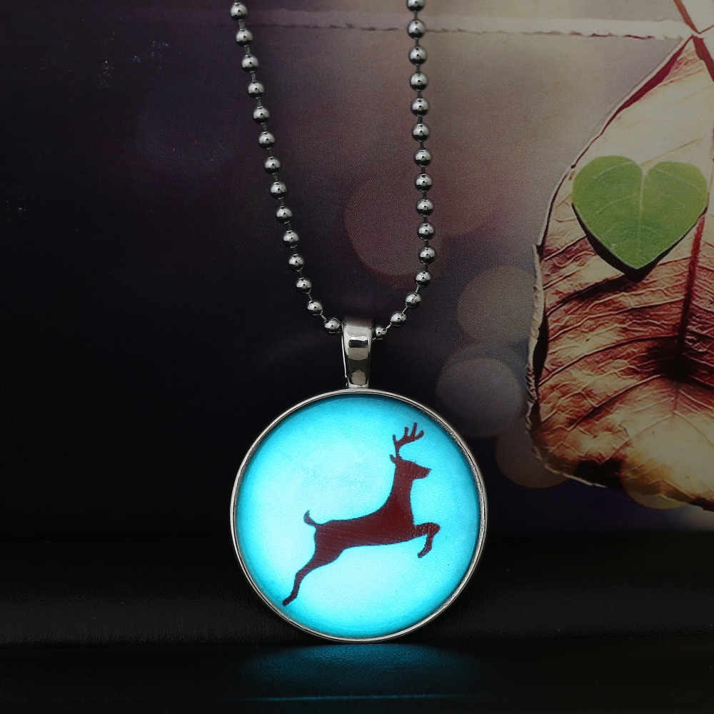 Steampunk Glass glowing statement Pendant Necklace Christmas Gift Women's Stainless Steel Chain Running Deer Necklace(China (Mainland))