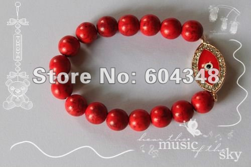 New Arrival Red Evil Eye With Rhinestones Sideway / Side Way Beaded Bracelet Stretch Bling Handmade Jewelry Bracelets 10PCS/LOT(China (Mainland))