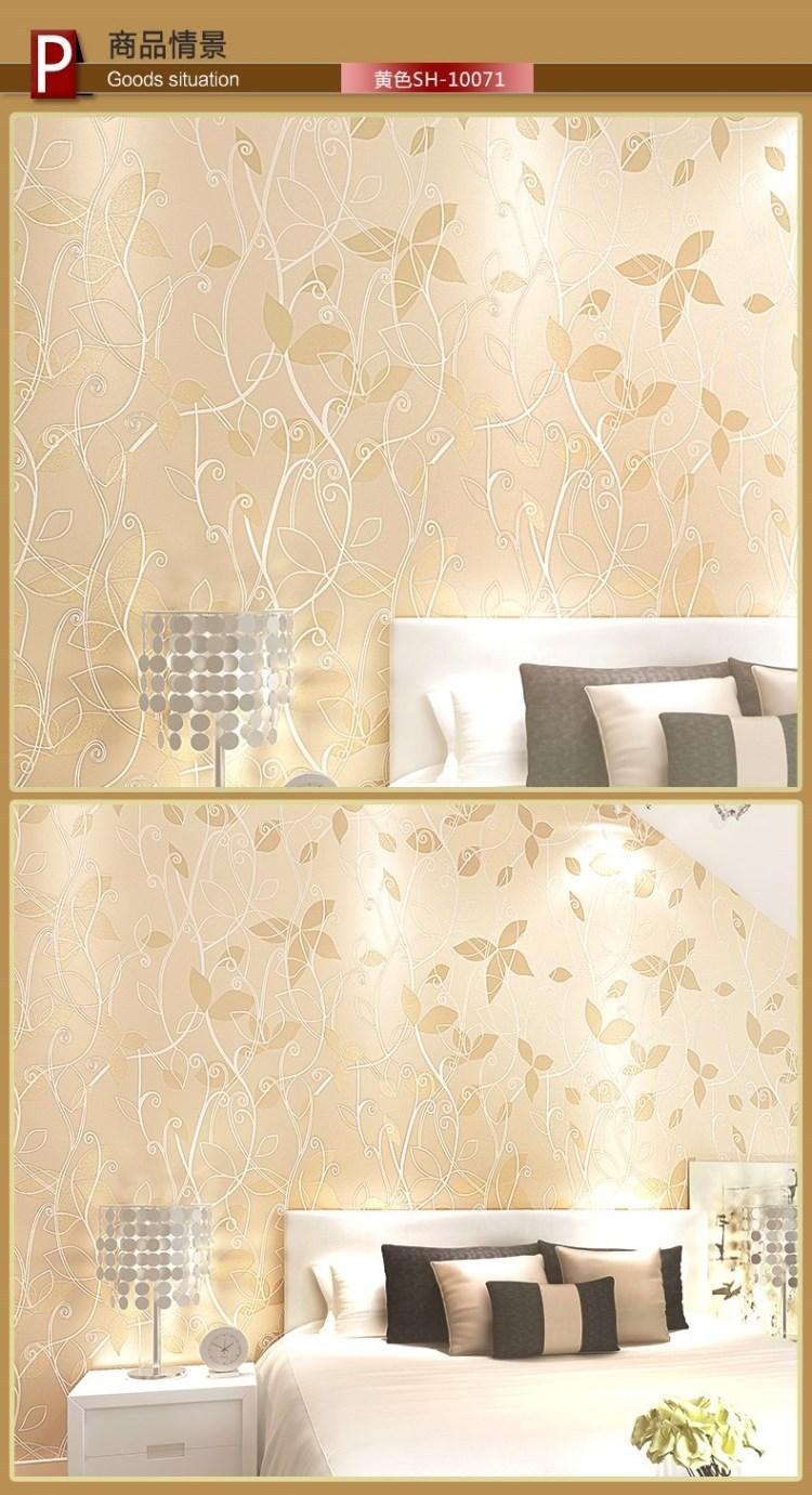 Non woven behang strooi zilverkleurige blad wallpaper moderne ...