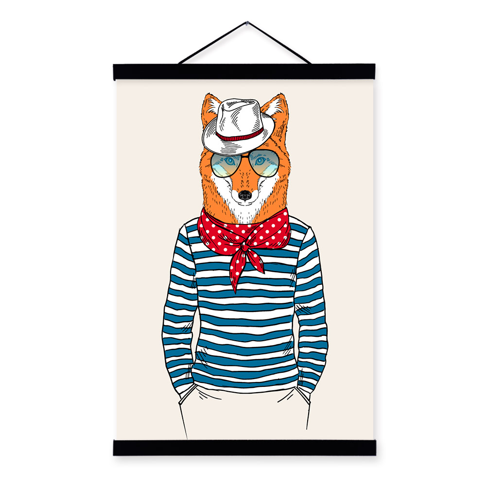 Fox Face Modern Fashion Gentleman Animal Portrait <font><b>Hipster</b></font> Framed Canvas Painting Wall Art Print Picture Poster Scroll <font><b>Home</b></font> <font><b>Decor</b></font>