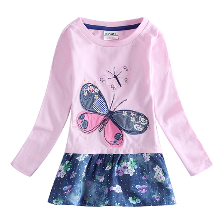 Nova brand Kids & Baby Girl Dress printing Butterfly Long Sleeve 100% Cotton summer style Party Casual Dress For baby H5460(China (Mainland))