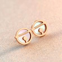 18KGP Rose Gold Plated Titanium Steel Doraemon Shell Stud Earrings Fashion Brand Women's Jewelry Nice Gift Free Shipping (GE039)