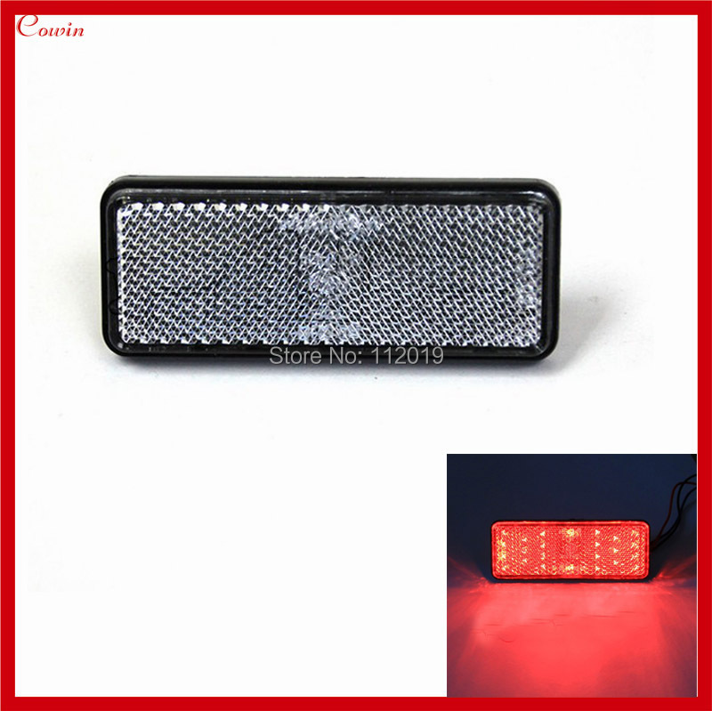 New Clear Lens Rectangle Universal Motorcycle car truck Red LED Reflectors Brake Light high performance(China (Mainland))