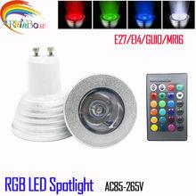 E27 E14 GU10 MR16 5W RGB LED Spotlight Long Life Span LED RGB Lamp Bulb Light for Decoration with IR Retome 16 Beautiful Colo(China (Mainland))