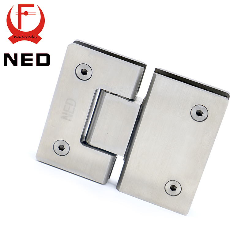 2PCS NED-4904 180 Degree Open 304 Stainless Steel Wall Mount Glass Shower Door Hinge For Home Bathroom Furniture Hardware(China (Mainland))