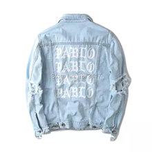 Top Quality Pablo Denim Jackets Men Hip Hop Brand Clothing Streetwear Jeans Jackets I Feel Like(China (Mainland))