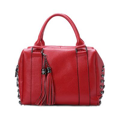 2015 Fashion Pillow Cowhide Tote Bags Women Genuine Real Leather Handbags Tassel Rivet Ladies Messenger Shoulder Bag an058
