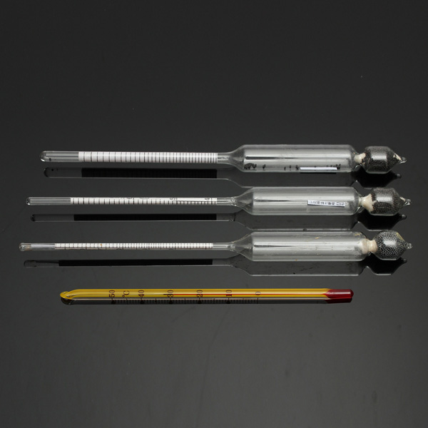 3pcs Hydrometer Alcoholmeter Set 0 to 100 Alcohol Meter Test Thermometer