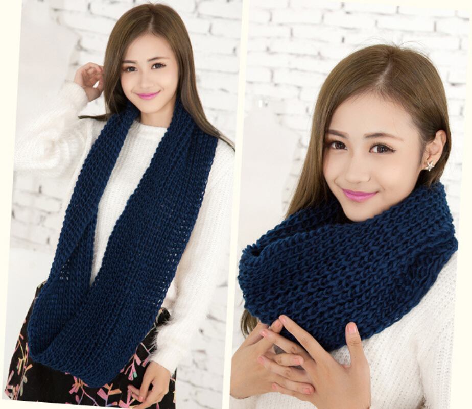 winter women &men outdoor warm acrylic knitted loose infinity circle solid color ring scarf tube/scarf - JW fashion factory store