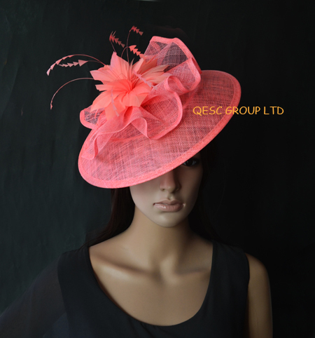 Coral pink Big Sinamay Fascinator Kentucky Derby hat for Races,Wedding,Melbourne Cup.(China (Mainland))