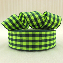 5Y42281 1″(25mm) green plaid scotish ribbon printed polyester ribbon 5 yards, DIY handmade materials, wedding gift wrap