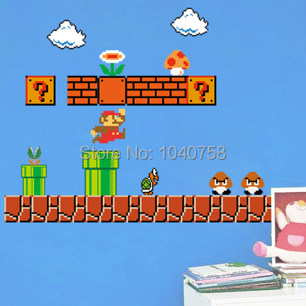 Home Decor Wall Sticker Removable Super Mario Bros Wall Stickers ...