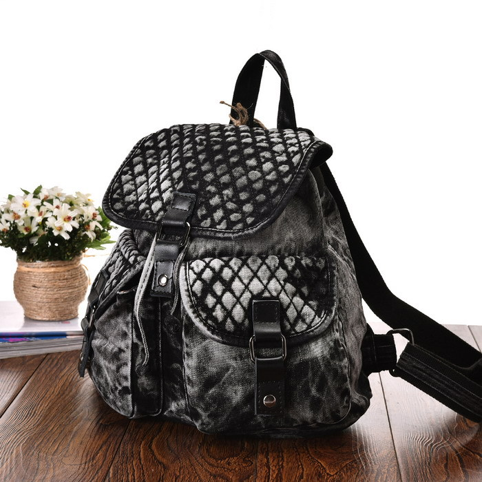 Vintage Fashion Diamond Lattice Trendy Design Denim Women Backpack for Teenage Girl Casual School Travel Bag Jeans Backpacks(China (Mainland))