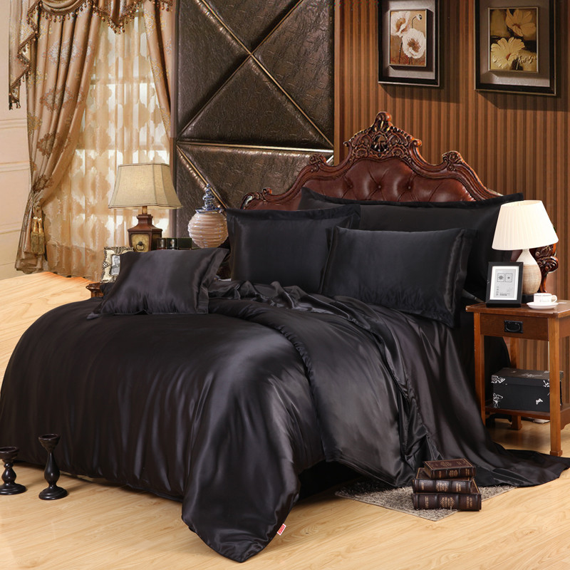 Black Luxury Bedding Sets Solid Satin 4 Pcs Queen/King Size Home Bedclothes Bed Linen Duvet Cover Set Bed Sheet(China (Mainland))