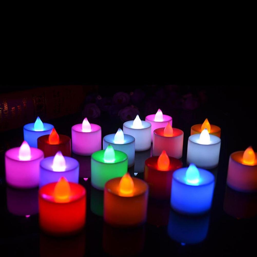 10 PCS LED Candle 6 Colors Flameless Flickering LED Tea Light Battery Candles Wedding Party Holiday Decoration(China (Mainland))