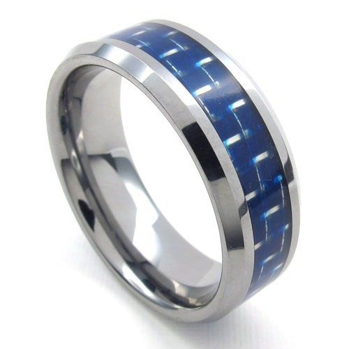 Fashion trend Steel carbon fiber ring 8mm R-1502()