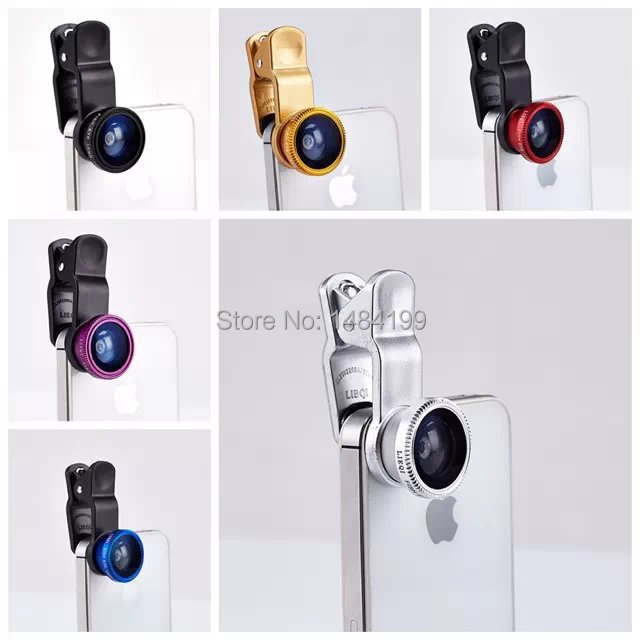 Universal 3in1 Clip-On Fish Eye Lens Wide Angle macro Mobile Phone Lens For iPhone 4 5 6 Samsung Galaxy S4 S5 All Phones fisheye