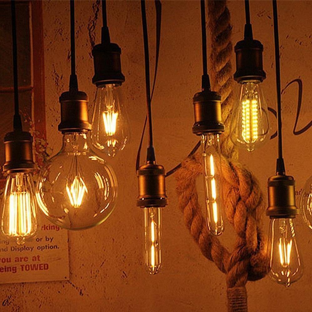 COB LED Filament Light Bulb Pendant Bulb Light 2W 4W 6W 8W E27 + E27 Retro Edison Lamp Base Screw Socket Base