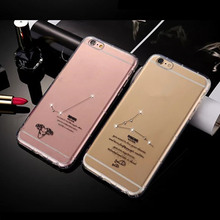 Twelve Constellations Horoscope Crystal Diamond Case for iPhone 6 Plus 6S Plus Transparent TPU Phone Cover Soft Protective Shell