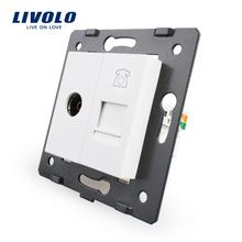 Fabricación Livolo, Panel de Cristal Cristal blanco, 2 Bandas de Pared Tv y Tel Socket/Salida VL-C7-1VT-11, sin adaptador de Enchufe