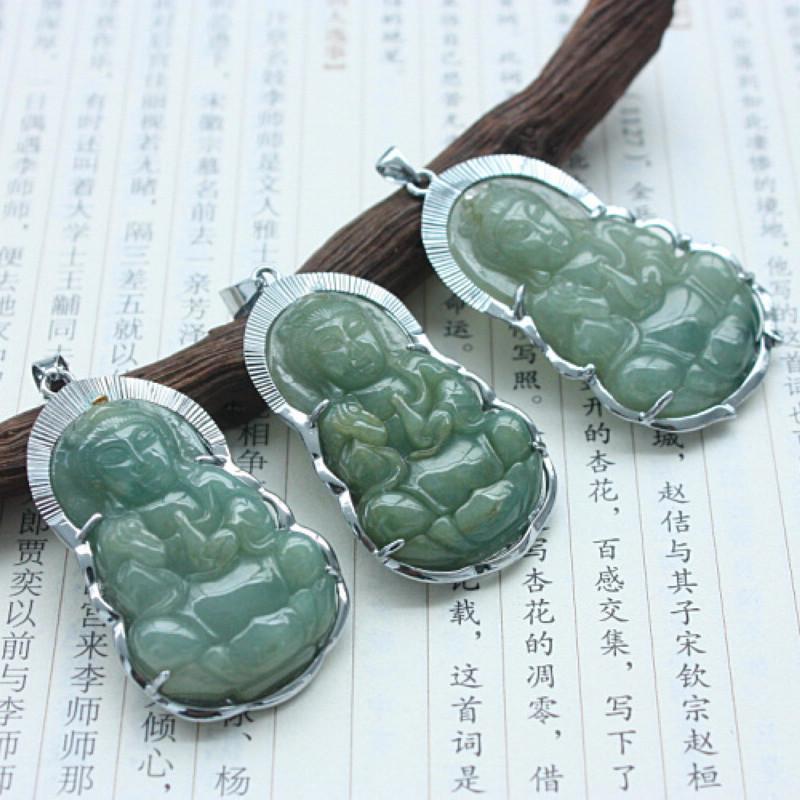 Druzy Natural Pendant S1170 Free Certified Grade Oil Kind Chinese Jadeite Bodhisattva Design Jade Good Carving - XingWei Wang's store
